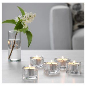 5 Pack - GLASIG Tealight holder, clear glass 2x2
